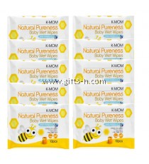 K-Mom Natural Pureness Baby Wet Wipes 10pcs Combo ( 12 pkt)